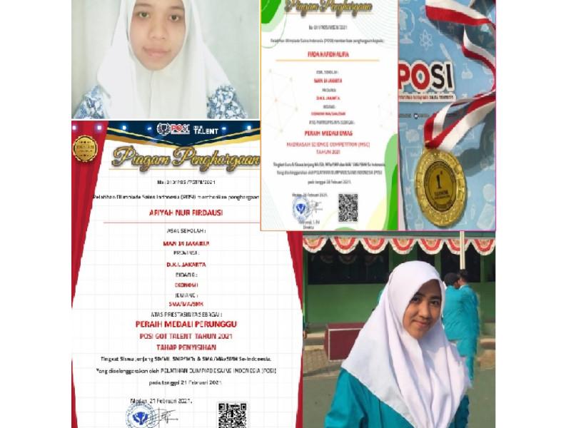 SISWA MAN 14 RAIH MEDALI EMAS DI AJANG MADRASAH SCIENCE COMPETITION